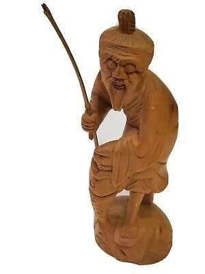 Rare Vintage Antique Wooden Wood Hand Carved Figurine Statue Old Man Fishing