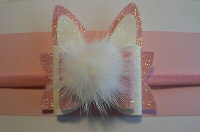 Newborn/Baby/Toddler/Girl Nylon Headband/ Pink & White Dbl Easter Bunny Ear Bow