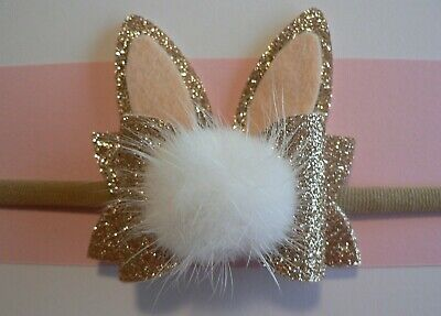 Newborn/Baby/Toddler/Girl Nylon Headband With Rose Gold Easter Bunny Ear Bow