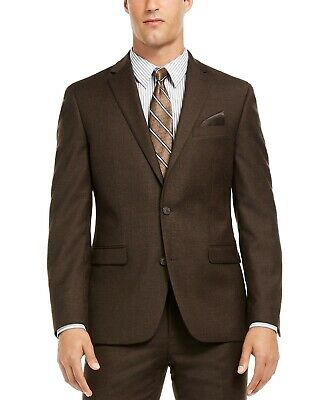 Bar III Men's Slim-Fit Textured Suit Jacket Sport Coat Blazer Brown 42R NEW $495