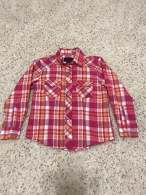 Cowgirl Legend Girls Pink Western Plaid Long Sleeve Shirt Snap Buttons Size L