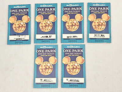 6 Walt Disney World One Park One Day Ticket Stubs - 1990 - Collectors Item