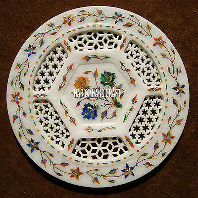 """15"""" Unique Dish Marble Plate With Beautiful Floral Arts Home Table Decor H4051C"""