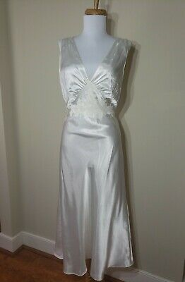 Vtg Satin Shiny White Marilyn Style Nightgown Gown Negligee Bridal Jny Size S