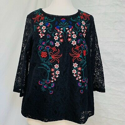 Charter Club Womens L Top Lace Crochet Embroidered Floral Black Red Blue Boho #b