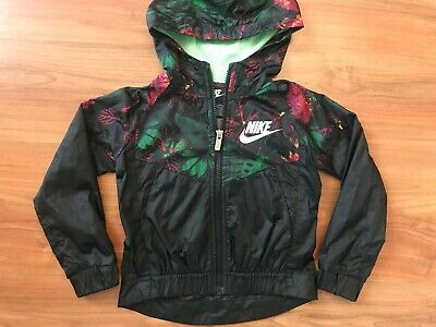 Girls BLACK Floral NIKE WINDRUNNER SHELL JACKET (age3-4) *GREAT COND*