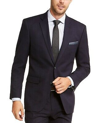 Perry Ellis Men Slim-Fit Stretch Plaid Suit Jacket Blazer Navy Blue 38L NEW $475