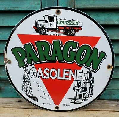 Paragon gasolene Oil gas company  man cave advertising  round Sign