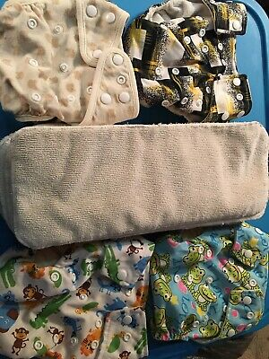 4 Reusable Adjustable Cloth Pocket diapers w/ 8 inserts