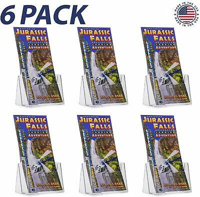 Source One 6 Pack Premium Counter Top Trifold 4-Inch Wide Acrylic Brochure Holde
