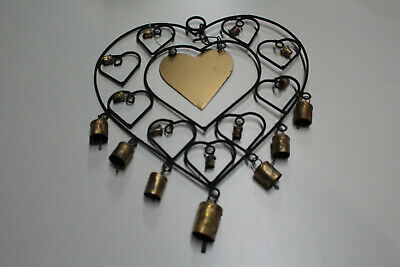 Wrought Iron Heart Shaped Outdoors Wind Chime with Antique gold bells