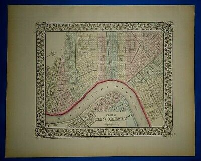Vintage 1873 NEW ORLEANS, LOUISIANA MAP Old Antique Original & Authentic