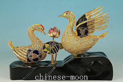 fine rare old hollow silver Cloisonne Handmade Swan Love Statue +Stand Wood