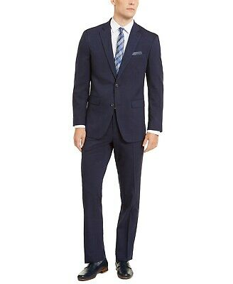$395 Perry Ellis Men's Slim-Fit Stretch Medium Blue Check Suit 38R / 32 x 32
