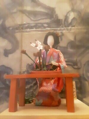 Japanese Old Handmade Paper Washi Doll  in Case