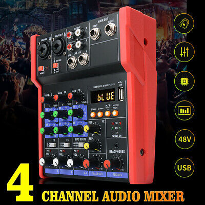 DE 4 Kanal Professional Audio Mischpult USB bluetooth Musik Stereo Mixer Rot Y