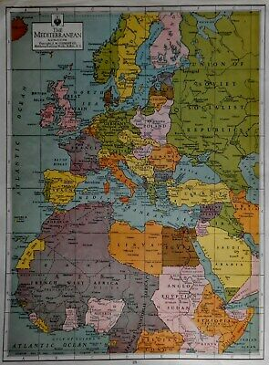 Vintage 1942 World War WWII Atlas Map Of Mediterranean & Scandinavia Plus L@@K!