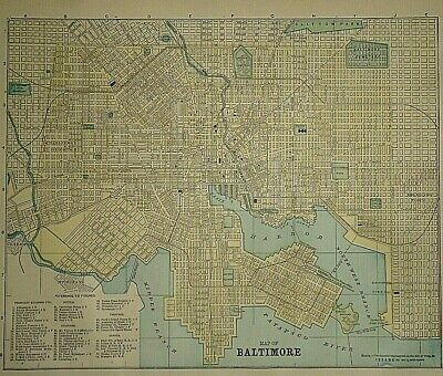 Vintage Circa 1892 BALTIMORE, MARYLAND MAP Old Antique Original Atlas Map