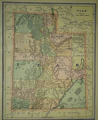 Vintage Circa 1892 UTAH MAP Old Antique Original Atlas Map
