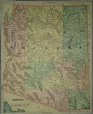 Vintage Circa 1892 ARIZONA TERRITORY MAP Old Antique Original Atlas Map
