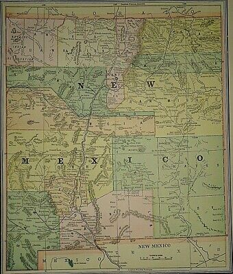 Vintage Circa 1892 NEW MEXICO TERRITORY MAP Old Antique Original Atlas Map