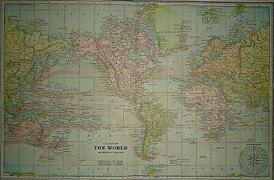 Vintage Circa 1892 THE WORLD on MERCATOR'S PROJECTION MAP Old Antique Original