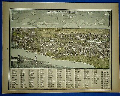 Vintage Circa 1892 BIRDS-EYE VIEW of the HOLY LAND MAP Old Antique Original