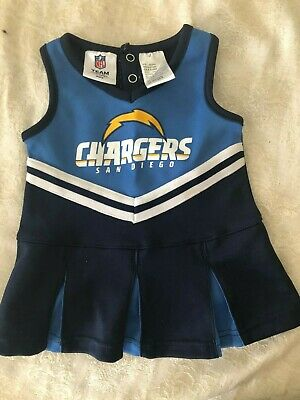 Infant Baby Girls Los Angeles Chargers 3/6 Mo Cheerleader Cheer Outfit Dress NFL
