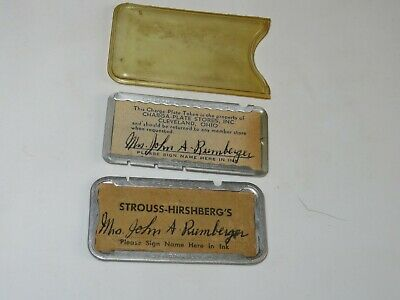Strouss Hirshberg's Department Store Charge Plate with Case Lisbon Ohio