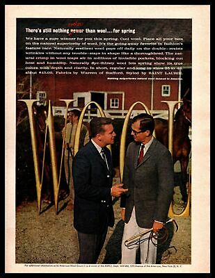 1962 Warren Of Stafford Saint Laurie Wool Suits Thoroughbred Horses Print Ad