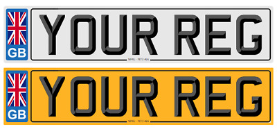 1 X PAIR UK ROAD LEGAL CAR REGISTRATION NUMBER PLATES 3D FONT GREY BORDER