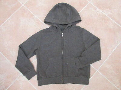 Next - Girls Grey Soft Feel Fleece Lined Zip up Hooded Top / Jacket - size 8 yrs