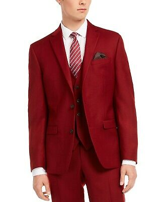 $425 Bar III Men's Slim-Fit Red Flannel Suit Jacket 36S