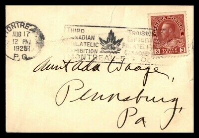 Canada Third Philatelic Exhibition Montreal 1926 Cover to US
