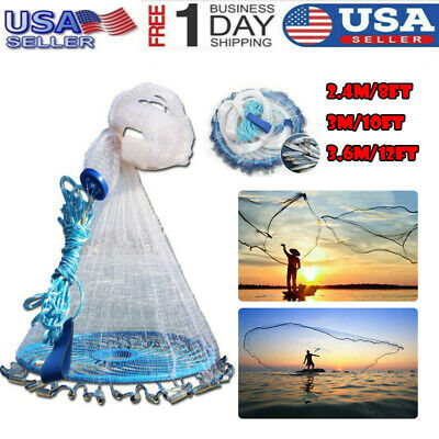 8//10//12FT Colorful Throw Hand Cast Fishing Net Spin Network Bait Fish Net+Sinker
