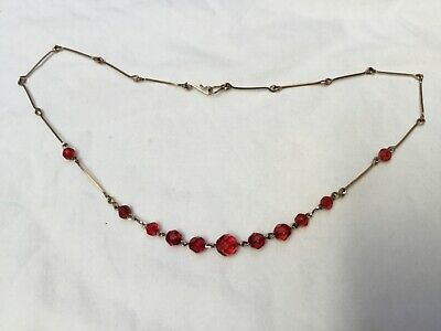 Vintage Art Deco 1920s 1930s ruby red crystal glass bead necklace. Rolled gold
