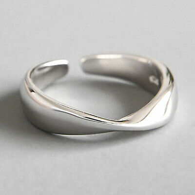 Solid 925 Sterling Silver Geometric Double Line Open Ring for Women Fine Jewelry