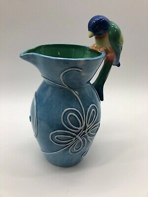 Fitz And Floyd large blue parrot Pitcher