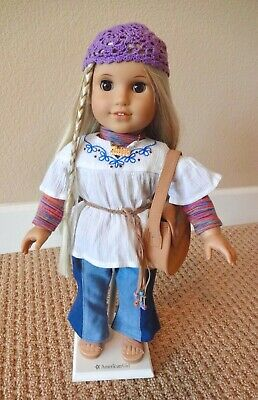 """AMERICAN GIRL Julie Albright 18"""" Doll Classic Meet Outfit Hat Purse Necklace"""