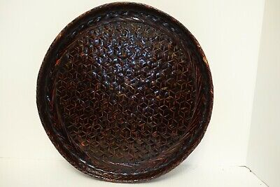 Cdx-Bx Vintage Japanese Woven Lacquer Basketry Tray 14""