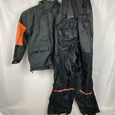 Harley Davidson Men's Medium Rain Gear Set Windbreaker & Suspender Clip Pants