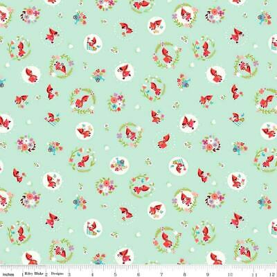 ~ Yard ~ Little Red Riding Hood On Mint Green By Riley Blake Cotton Fabric 2018