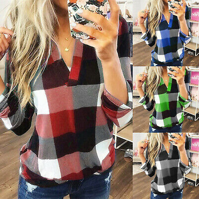 Loose Casual T-Shirt Jumper Roll Tab Sleeve Blouse Womens Pullover Tops V Neck