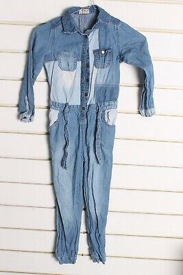 Next Girls Youths Kids Denim Trouser Playsuit - Blue - Size Age 5-6 Years (bb5)