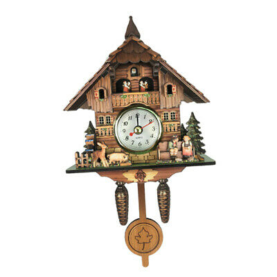 Wooden Vintage Style Cuckoo Clock Wall Art Home Cafe Hotel Decorations J