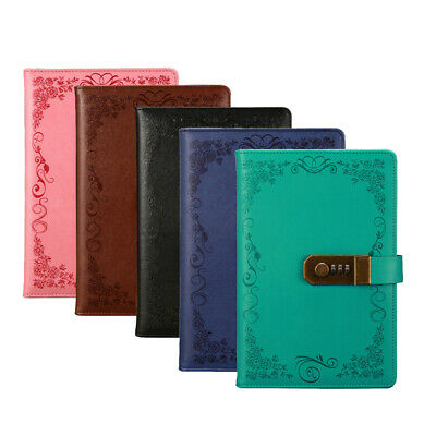 A5 Leather Vintage Journal Notebook 100 Pages Diary Travel Notebook With Lock US