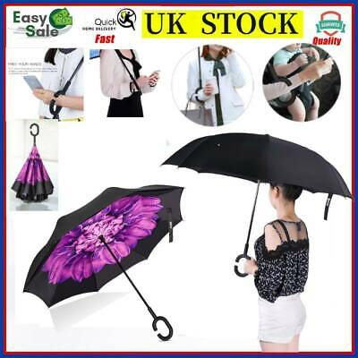 Windproof C-Handle Upside Down-Reverse Double Layer Umbrella Inside-Out Inverted
