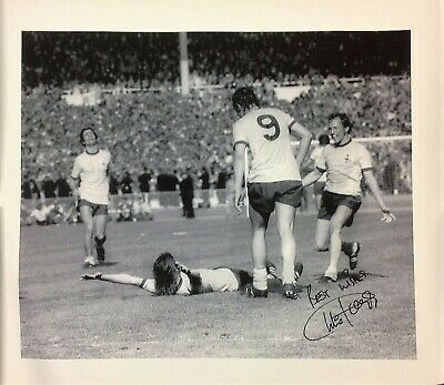 Arsenal Charlie George autographed football authentic signed canvas GK13