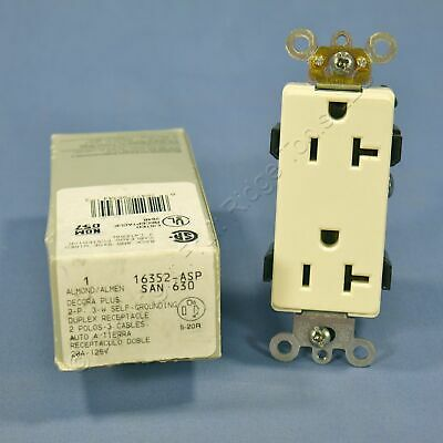 New Leviton Almond COMMERCIAL Decora Receptacle Duplex Outlet 20A 16352-A Boxed