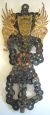Antique Vtg  Asian Thai Metal Tokens Coins Figural Wings Wood Face Hand Made